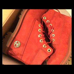Limited Release Red suede Timberland Boots w/ Gold